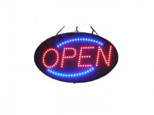 OpenSign 13in x 21in Super Bright 10mm LED with Power Adaptor with more than 100 individual super brights LEDs, Random Chasing Light feature