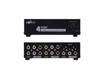 4 Port 1 In 4 Out 3 RCA AV Audio Video Splitter Amplifier for Cable Box DVD DVR Analog TV