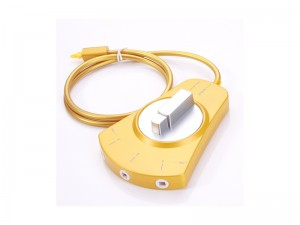 Digital Audio Optical Fiber Cable Toslink 3-Way Selector Switch Adapter Splitter With Fiber Optic Cable, Golden color