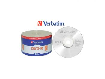 Verbatim DVD-R4.7Gb 16X Full Logo (Branded) Surface 50pcs Bulk Colour Wrap