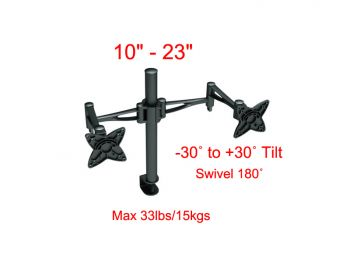 TV-WM-TygerClaw-LCD6407BLK for 10inch - 23inchTV/Tilt -30˚ to +30˚/Swivel up to 180˚/Max 33lbs/15kgs.