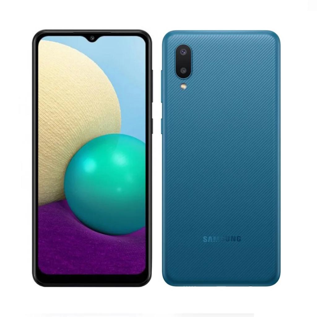 Samsung Galaxy a02 phone blue